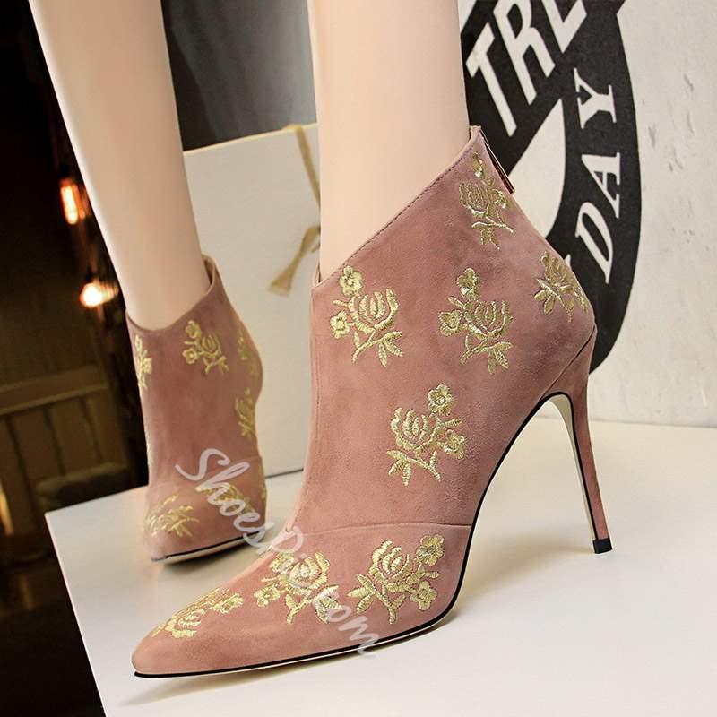 Shoespie Embroidery Back Zipper Stiletto Heel Ankle Boots