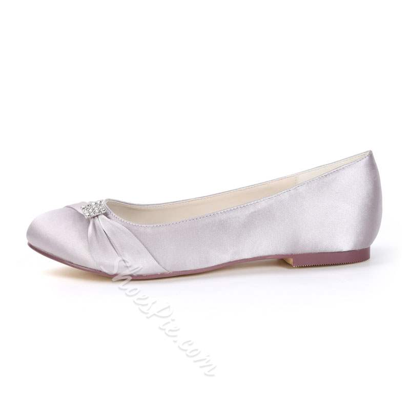 Shoespie Rhinestone Slip-On Bridal Flat Wedding Shoes