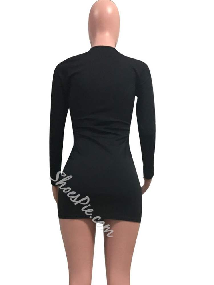 Long Sleeve Sexy Fall V Neck Women's Bodycon Dress