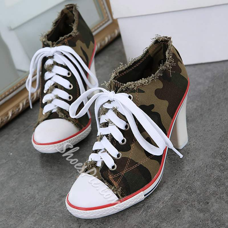 Shoespie Camouflage Lace-Up High Heel Ankle Boots