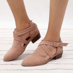 Shoespie Casual Buckle Plain Flat Ankle Boots