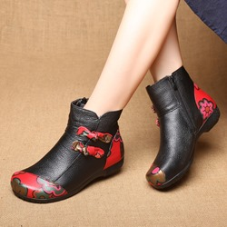 Shoespie Black Vintage Printing Pattern Leather Ankle Boots