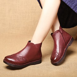 Shoespie Vintage Round Toe Side Zipper Leather Ankle Boots