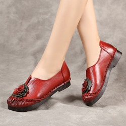 Shoespie Vintage Leather Flower Slip-On Loafers