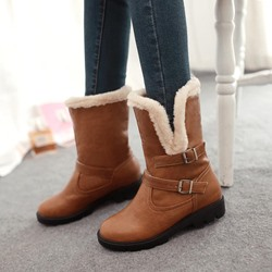 Shoespie Slip On Warm Buckle Snow Ankle Boots