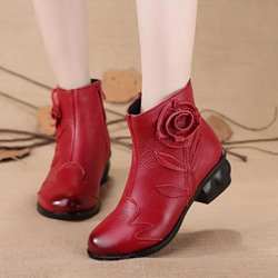 ShoespieVintage Leather Floral Side Zipper Flat Ankle Boots