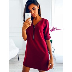 Zipper Knee-Length V-Neck Plain Women's Casual Dress