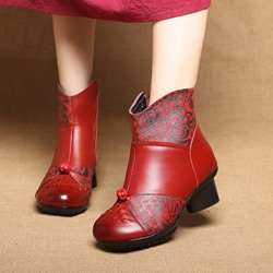 Vintage Printing Pattern Round Toe Leather Ankle Boots