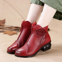 ShoespieVintage Floral Side Zipper Leather Ankle Boots