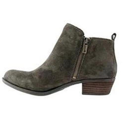 Shoespie Suede Side Zipper Plain Flat Ankle Boots