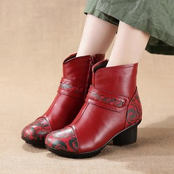 Vintage Leather Printing Pattern Side Zipper Ankle Boots