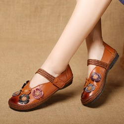 Shoespie Vintage Flower Leather Hook Loop Loafers