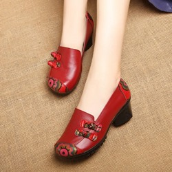 Shoespie Vintage Leather Bow Printing Slip On Loafers