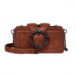 Shoespie Plain PU Lock Rectangle Crossbody Bags
