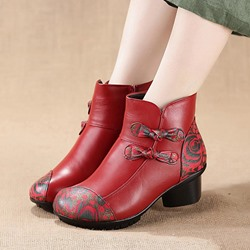 Shoespie Vintage Printing Pattern Zipper Leather Ankle Boots