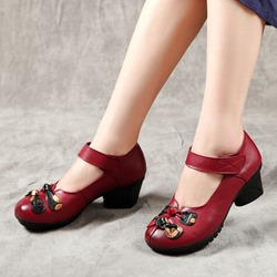 Shoespie Vintage Leather Bow Hook Loop Loafers