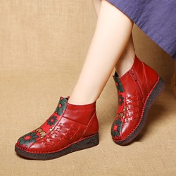 Vintage Leather Floral Side Zipper Ankle Boots