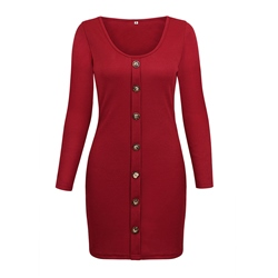 Long Sleeve Plain Button Women's Bodycon Dress