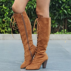 Shoespie Suede Lace Up Side Zipper Knee High Boots