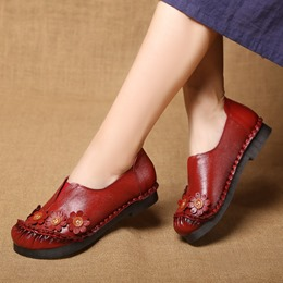 Shoespie Vintage Flower Slip-On Leather Loafers