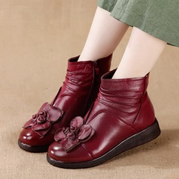 Shoespie Vintage Leather Flower Side Zipper Ankle Boots