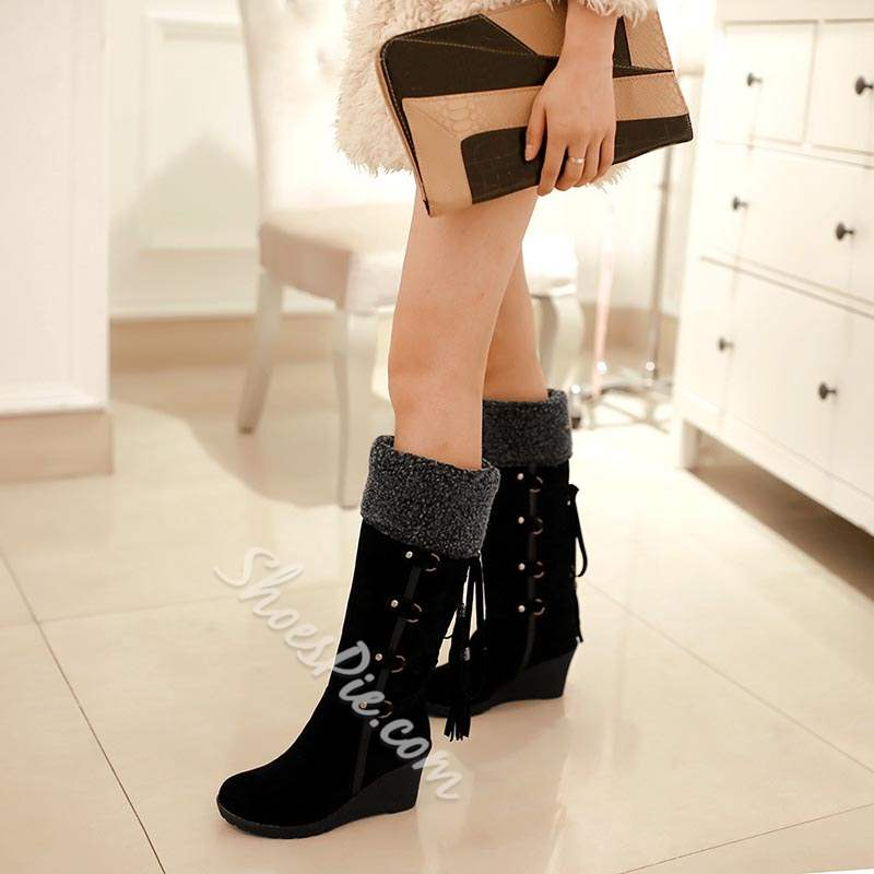 Shoespie Warm Wedge Heel Snow Knee High Boots
