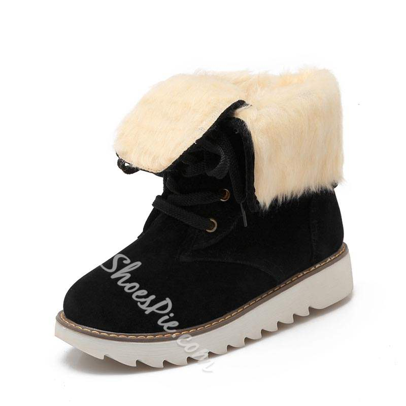 Shoespie Winter Lace Up Flat Snow Ankle Boots