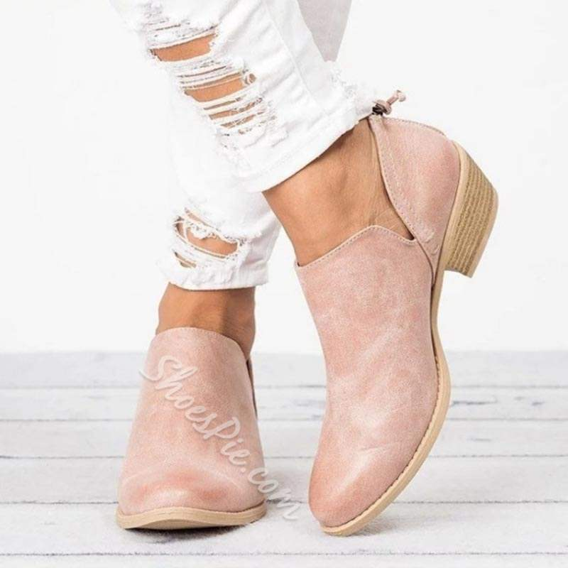 Shoespie Casual Plain Back Zip Flat Ankle Boots