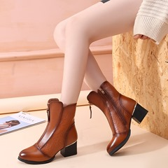 Shoespie Vintage Zipper High Heel Leather Ankle Boots