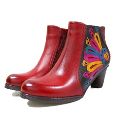 Shoespie Vintage Printing Splicing Pattern Leather Anke Boots