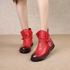 Shoespie Vintage Floral Embroidery Zipper Leather Ankle Boots