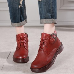 Shoespie Vintage Flower Lace-Up Flat Leather Ankle Boots
