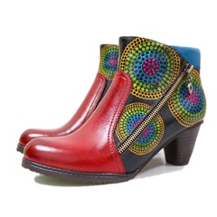 Shoespie Vintage Leather Printing Splicing Pattern Anke Boots