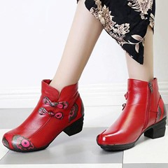 Shoespie Vintage Printing Pattern Knot Zipper Leather Ankle Boots