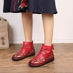 Shoespie Vintage Platform Embroidery Zipper Leather Ankle Boots