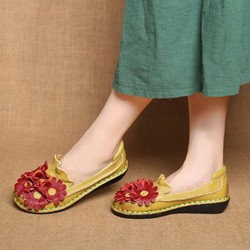 Shoespie Vintage Flat Flower Soft Leather Slip-On Loafers