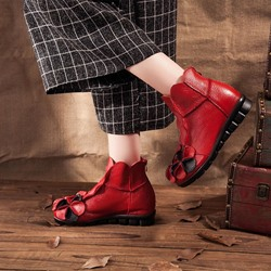 Shoespie Vintage Flower Round Toe PU Leather Ankle Boots