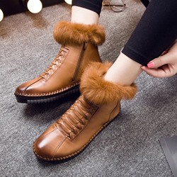 Shoespie Vintage Leather Fluffy Flat Ankle Boots
