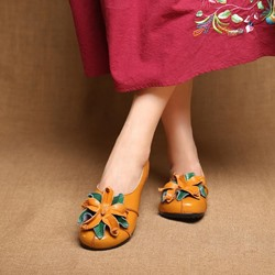 Shoespie Vintage Flower Soft Leather Slip-On Loafers