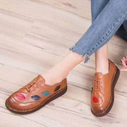 Shoespie Vintage Round Toe Lace Up Leather Loafers