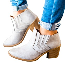Shoespie Casual Slip On High Heel Ankle Boots