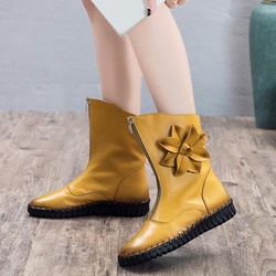 Shoespie Vintage Leather Flower Front Zipper Ankle Boots