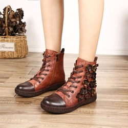 Shoespie Vintage Platform Flower Lace Up Leather Ankle Boots
