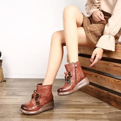Shoespie Vintage Flower Zipper Wedge Leather Ankle Boots