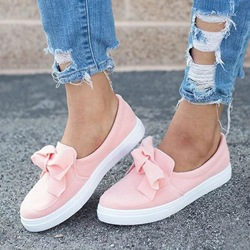 Shoespie Stylish Round Toe Bow Slip-On Flat Loafers