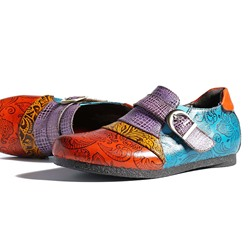 Vintage Printing Splicing Pattern Buckle Leather Loafers