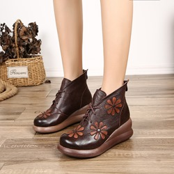 Shoespie Vintage Leather Platform Lace Up Ankle Boots
