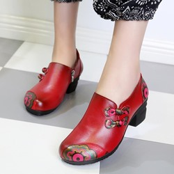 Shoespie Vintage Zipper Floral Knot Leather Shoes