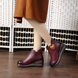 Shoespie Vintage Heart Zipper Wedge Leather Ankle Boots