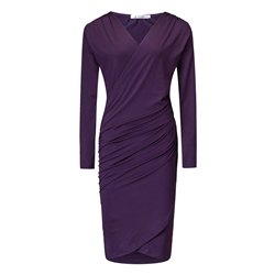 Long Sleeve V Neck Pleated Women's Bodycon Dress
